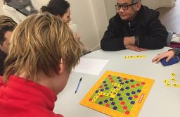 Grade 5 students visit La maison Felippa: Building relationships & French skills with Scrabble